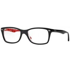 Óculos de Grau retangular Ray-Ban Preto Interior Estampa Vermelha