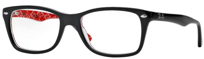 Óculos de grau Ray-Ban Preto Vermelho Estampado Retangular
