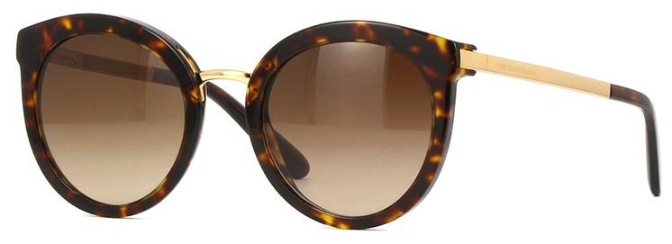Óculos de sol feminino redondo Dolce Gabbana Tartaruga Marrom