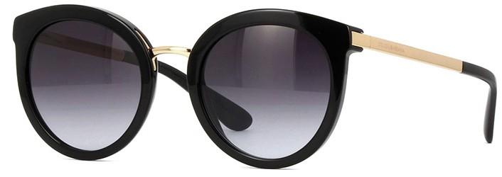 Óculos de sol redondo feminino Dolce Gabbana Preto com Dourado