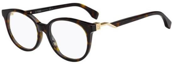 Óculos de grau redondo Fendi Cube Tartaruga