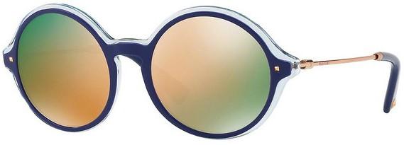Óculos feminino Valentino redondo azul espelhado