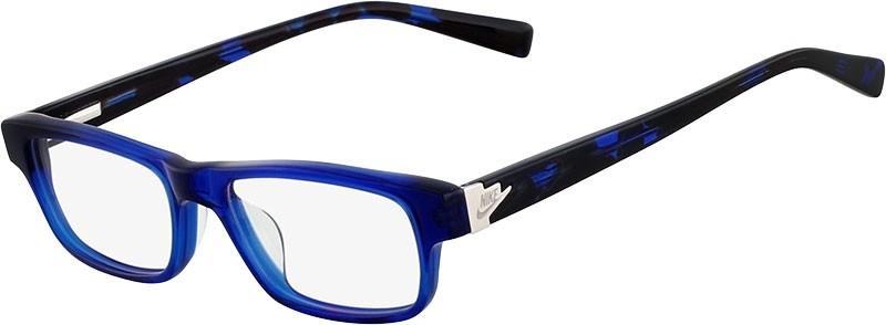 Óculos de grau retangular Nike Azul Havana Original