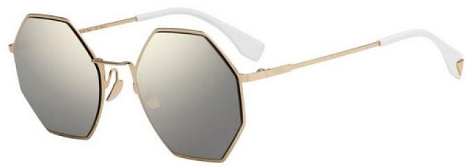 oculos fendi heptagonal 292 dourado espelhado